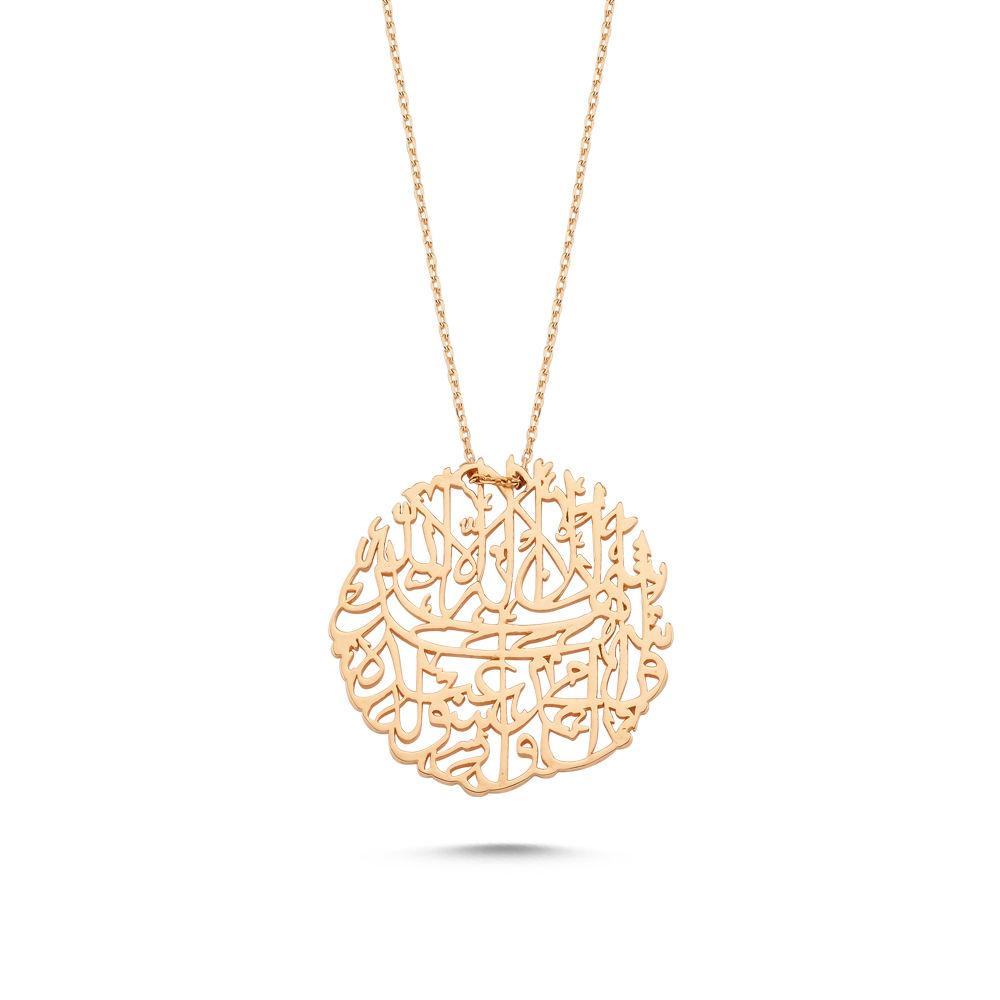 Nazar Duası Altın Kolye 14K Rose Gold El İşlemesi