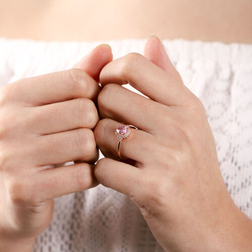 SembolGold - Pink Topaz Altın Yüzük Pırlanta Montur 14 Ayar (1)
