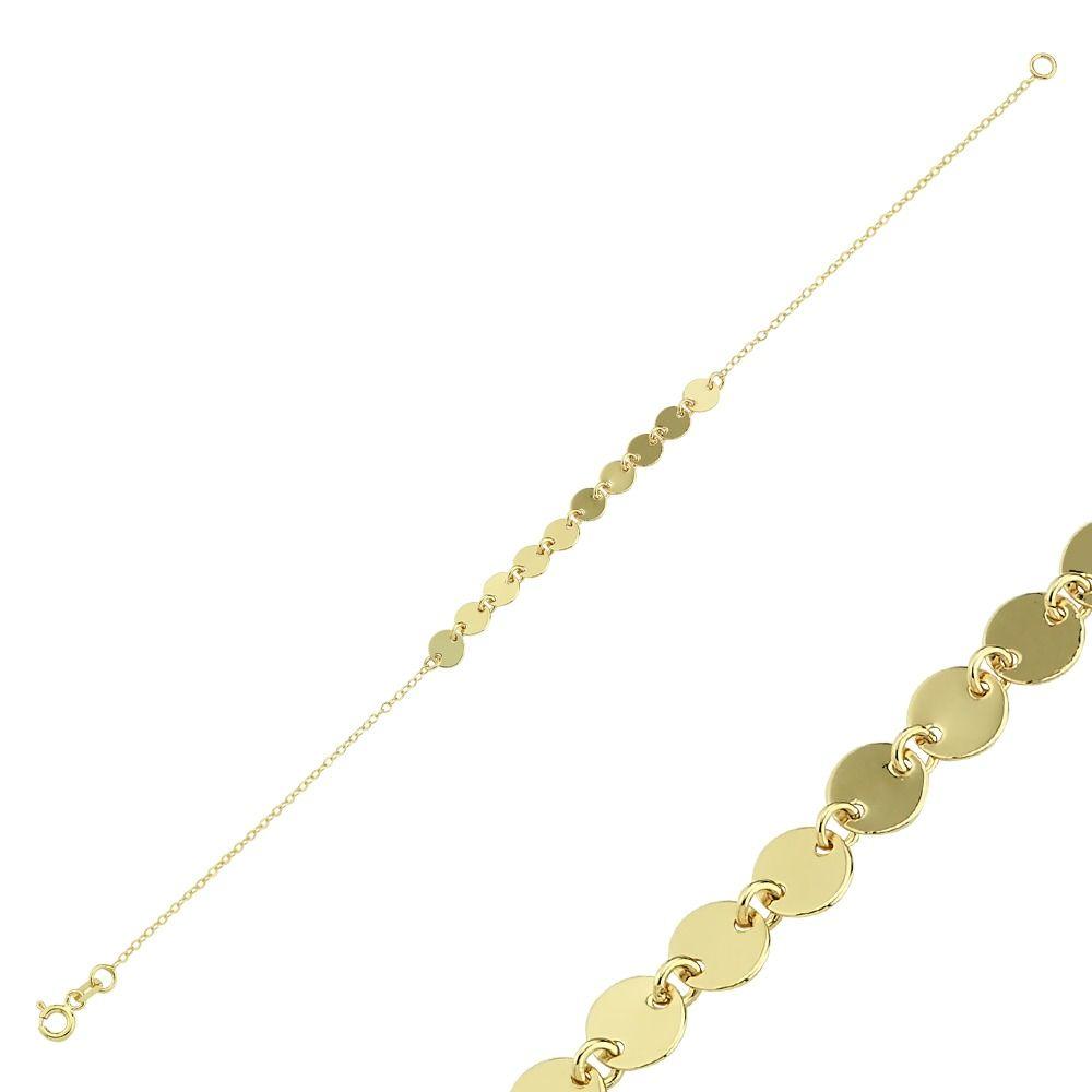 Pullu Altın Bileklik 14K Gold 19 Cm