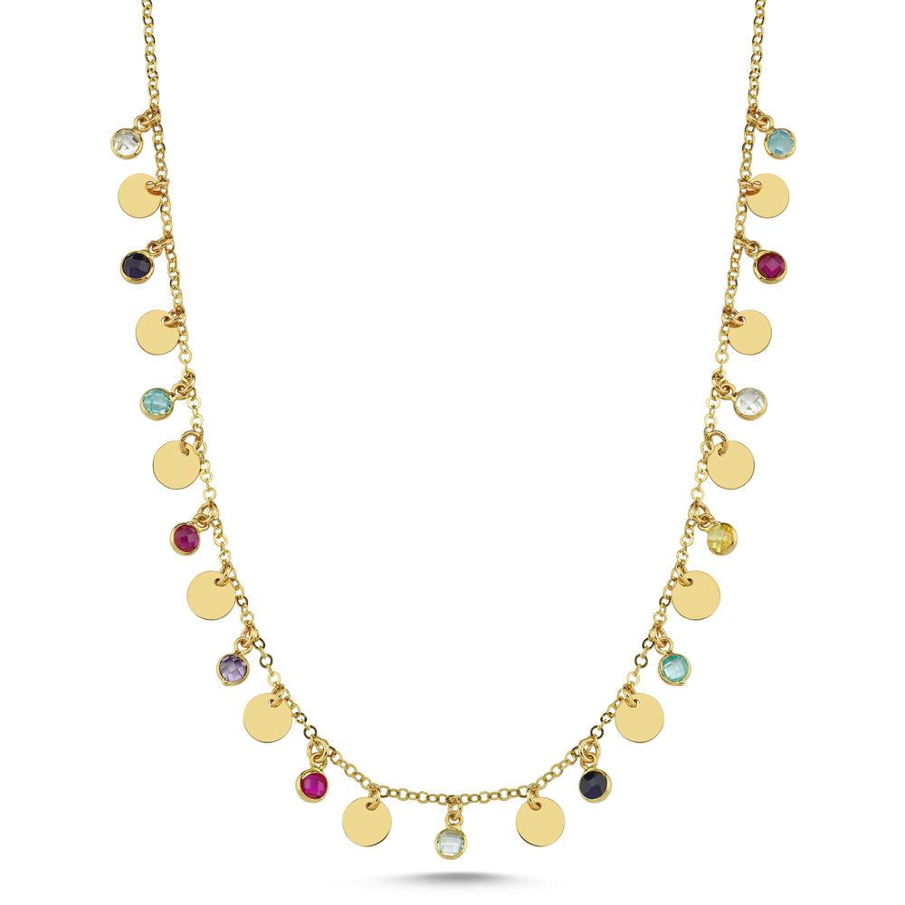 Pullu Tiffany Altın Kolye 45 Cm