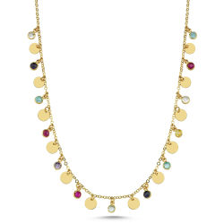 SembolGold - Pullu Tiffany Altın Kolye 45 Cm