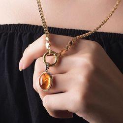 SembolGold - Pullu Zincir Kehribar Altın Kolye Madalyon (1)