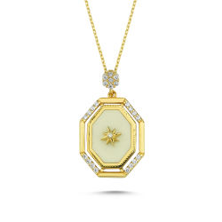 SembolGold - Pusula Altın Kolye Madalyon Beyaz Mineli
