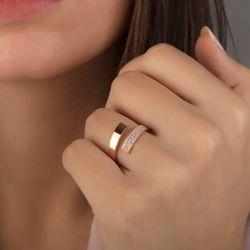 SembolGold - Rose Altın Eklem Yüzük Taşlı 14K Gold (1)