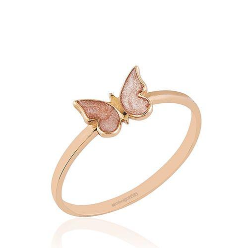SembolGold - Rose Altın Kelebek Yüzük Sedefli 14K