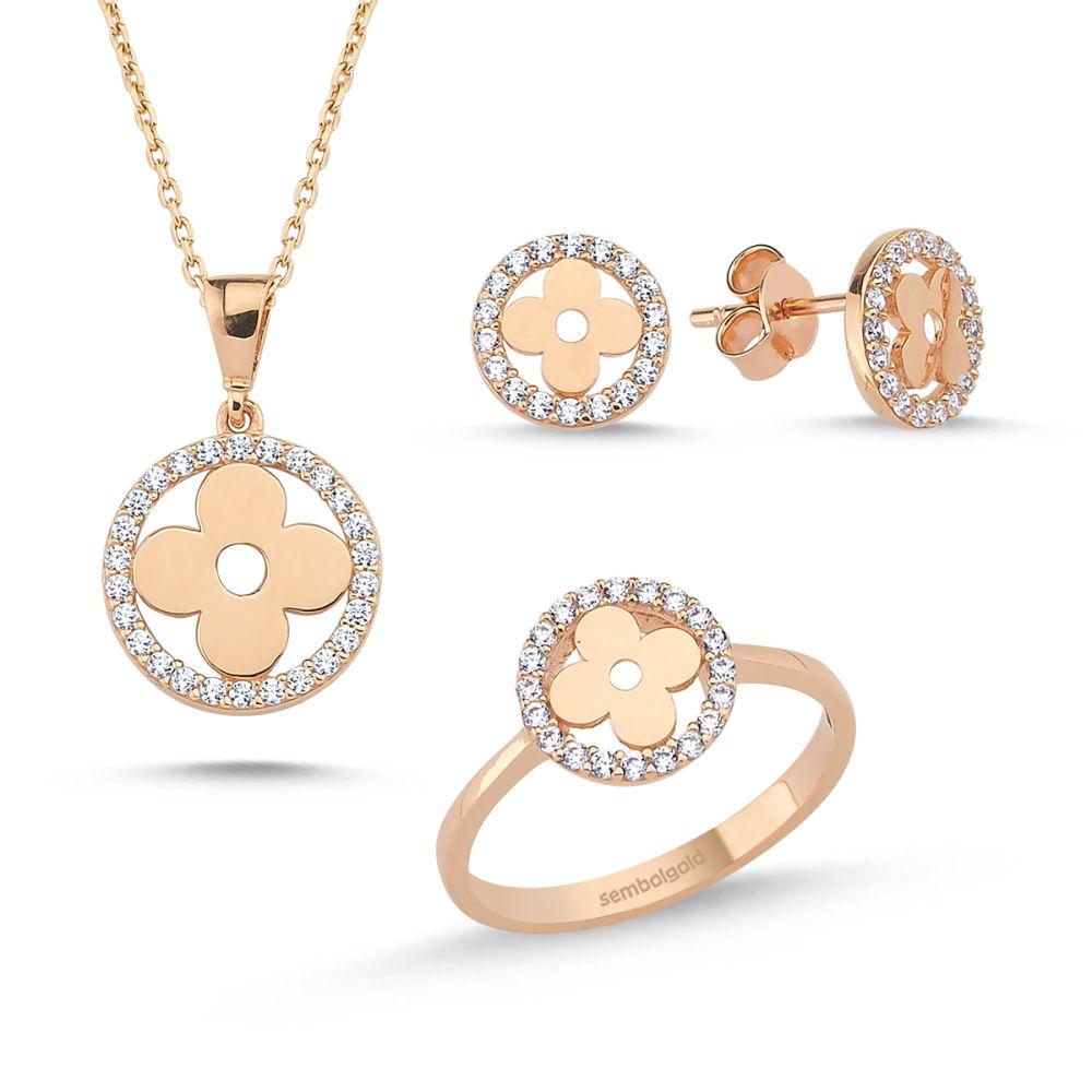 Rose Altın Takı Seti Papatya (zincir dahil) S5484150