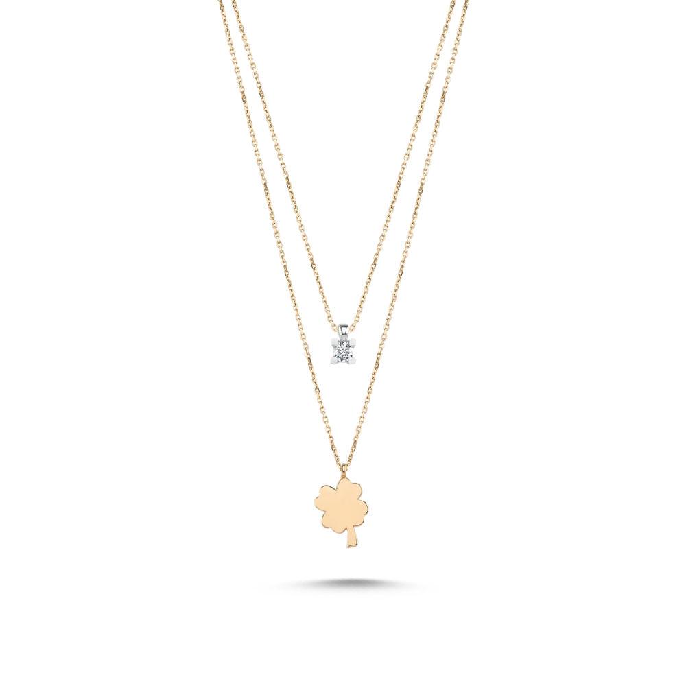 Rose Altın Tektaş & Papatya Kolye (Cift Zincirli) PDK-0031591