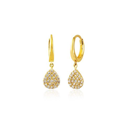 SembolGold - Sallantılı Altın Damla Küpe 14K Gold