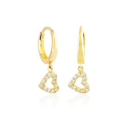 SembolGold - Sallantılı Altın Kalp Küpe 14K Gold
