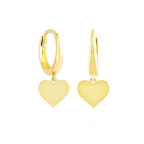 SembolGold - Sallantılı Altın Kalp Küpe 14K Gold Taşsız