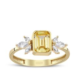 Sarı Citrin Baget Altın Altın Yüzük Markiz Taşlı - Thumbnail