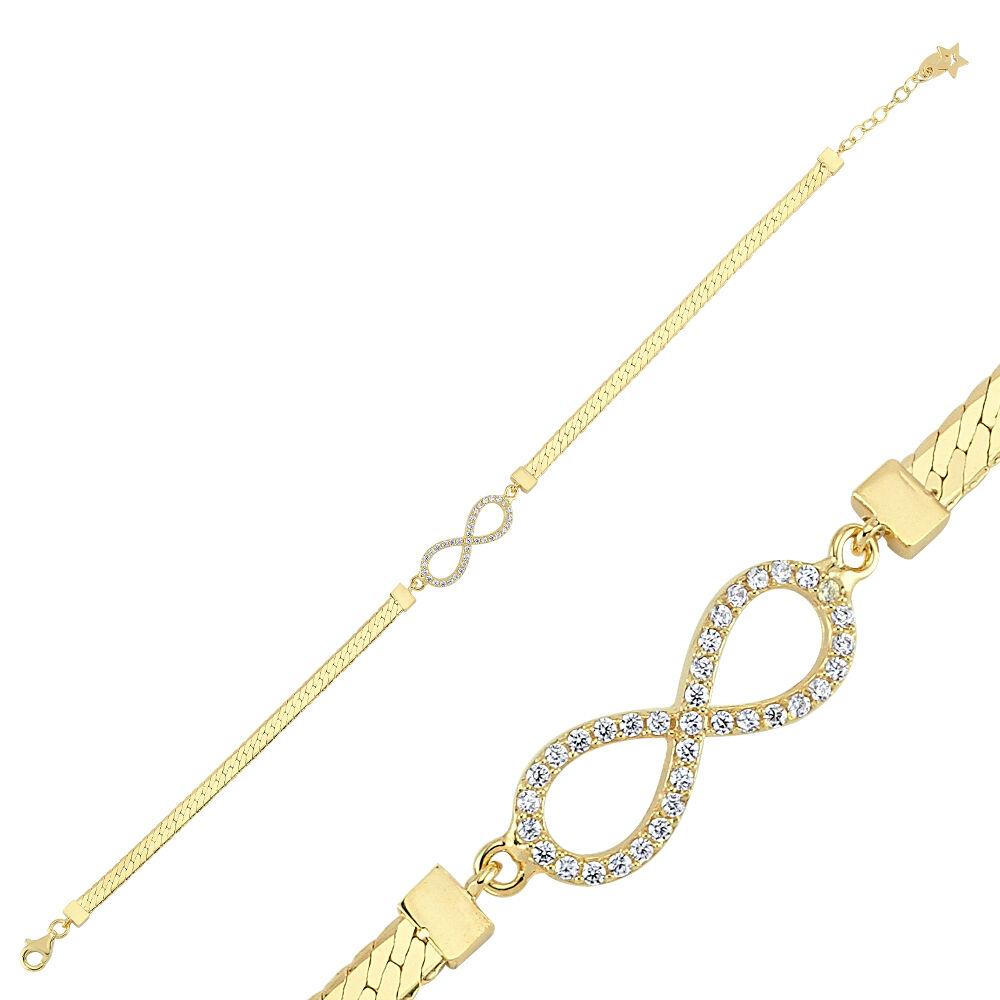 Sonsuzluk Altın Bileklik Ezme Zincir 18-22 cm