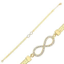 Sonsuzluk Altın Bileklik Ezme Zincir 18-22 cm - Thumbnail