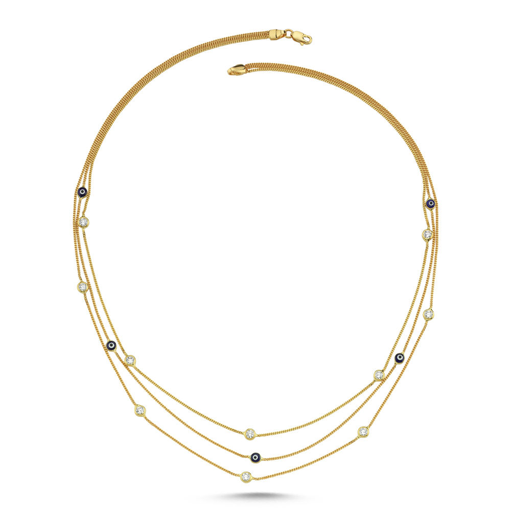 Tiffany Üç Zincirli Altın Nazarlı Kolye 14K Gold