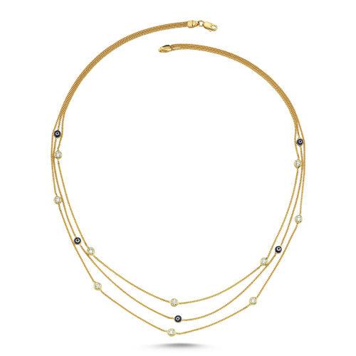 SembolGold - Tiffany Üç Zincirli Altın Nazarlı Kolye 14K Gold