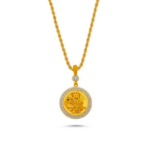 SembolGold - Tuğralı Altın Kolye 50 cm Burgulu Halat Zincirli