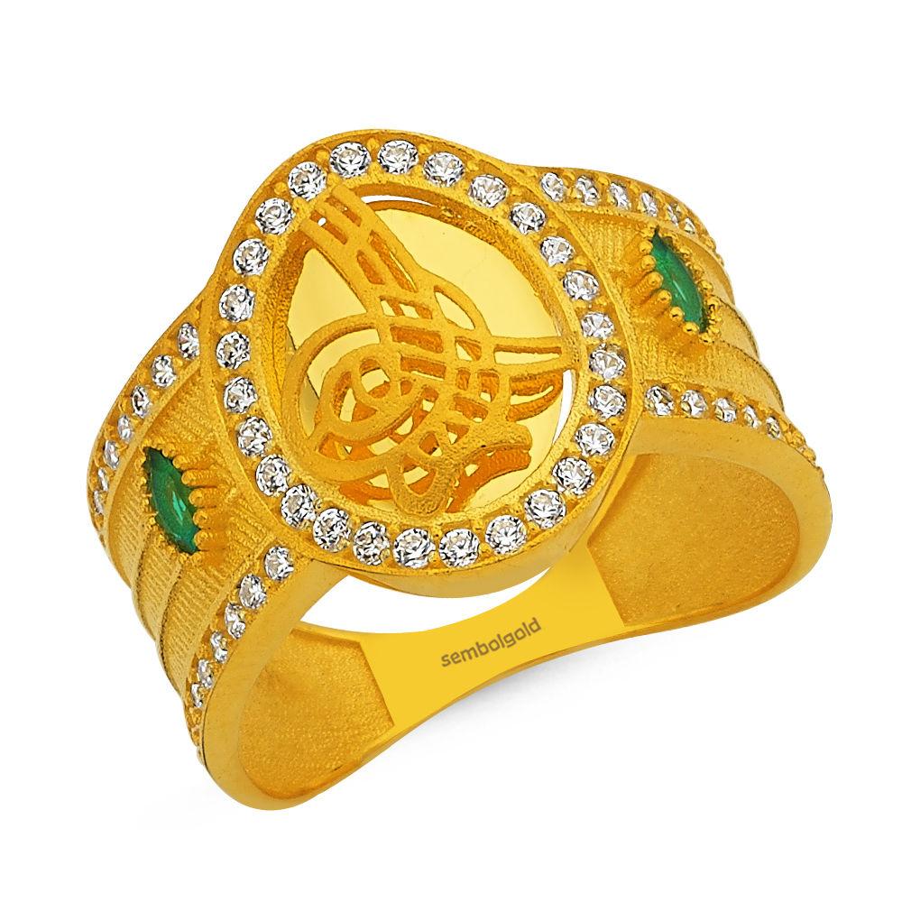 Tuğralı Altın Yüzük Turmalin Taşlı Hasır Modeli