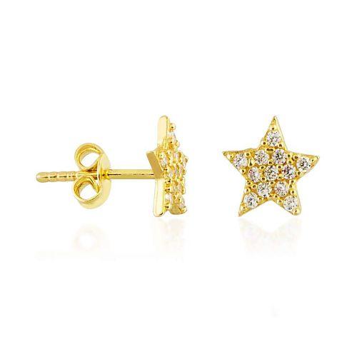 SembolGold - Yıldız Altın Çivi Küpe 14K Gold Taşlı