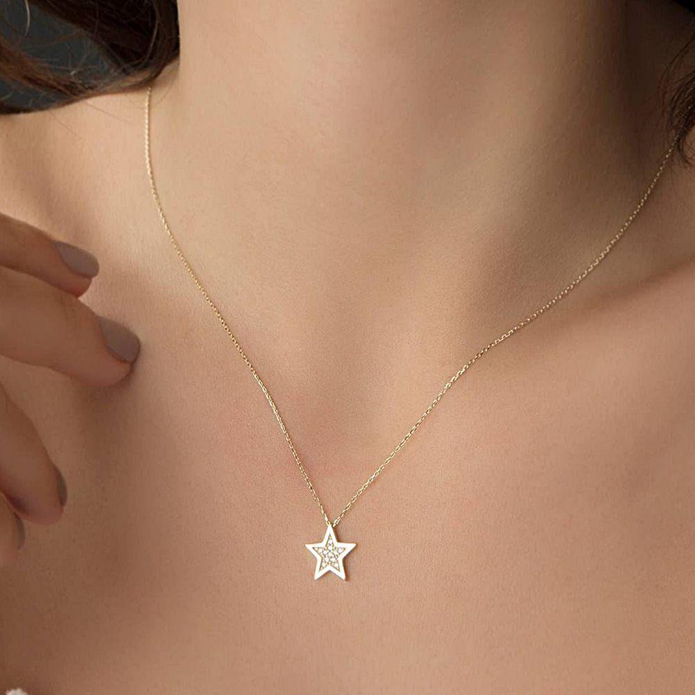 Yıldız Altın Kolye 14K 1,0 cm