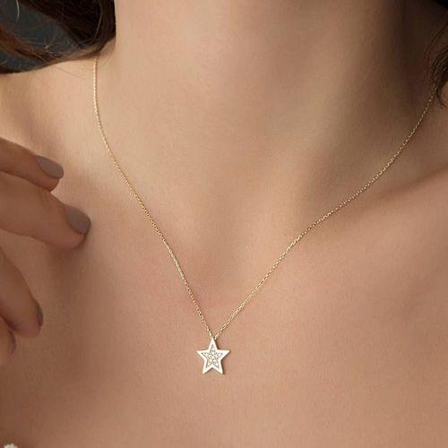 SembolGold - Yıldız Altın Kolye 14K 1,0 cm (1)