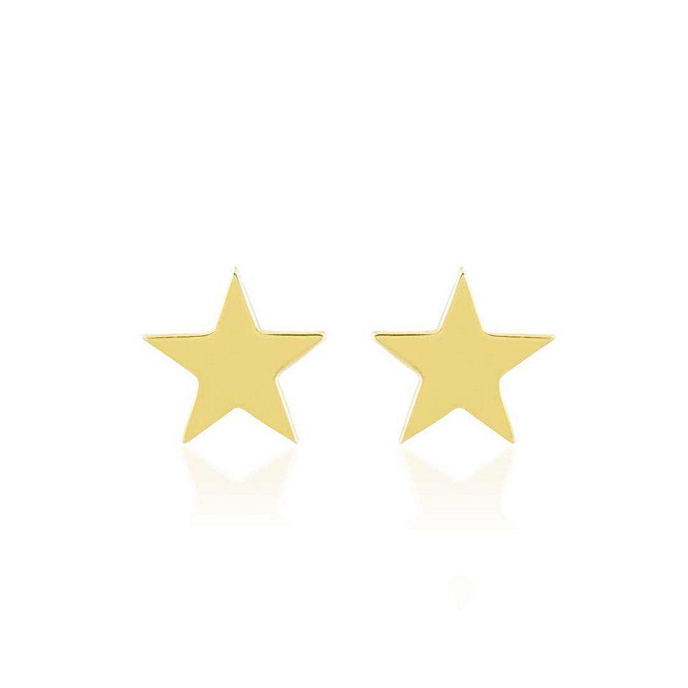 Yıldız Altın Küpe Parlak Taşsız