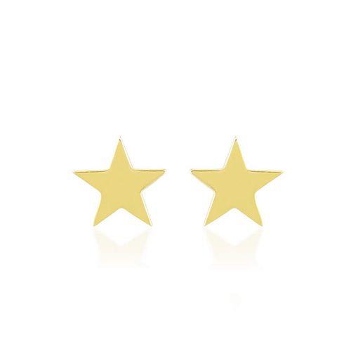 SembolGold - Yıldız Altın Küpe Parlak Taşsız