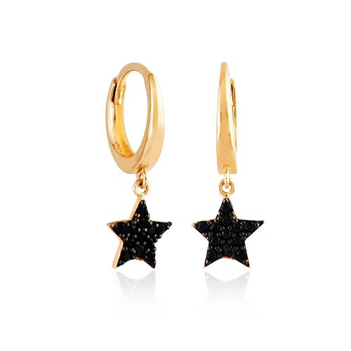SembolGold - Yıldız Rose Altın Sallantılı Küpe 14K Gold Onix Taşlı